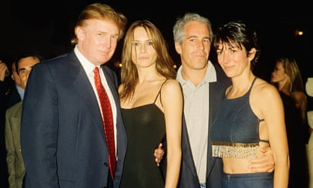 Donald Trump and his then girlfriend Melania Knauss pictured with Jeffrey Epstein and Ghislaine Maxwell at Trump's Mar-a-Lago club in Palm Beach, Florida, in February 2000.