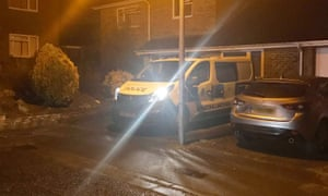A police van outside of the house of former Russian spy Sergei Skripal.