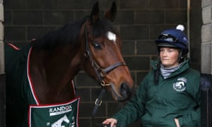Tiger Roll with groom Louise Magee during the stable visit to Gordon Elliott's yard.