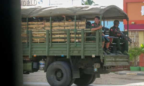 Troops in truck