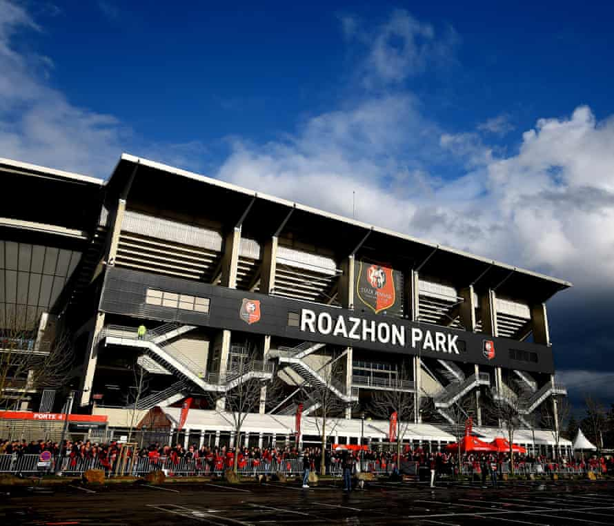 A general view before the match between Stade Rennais and Arsenal at Roazhon Park.
