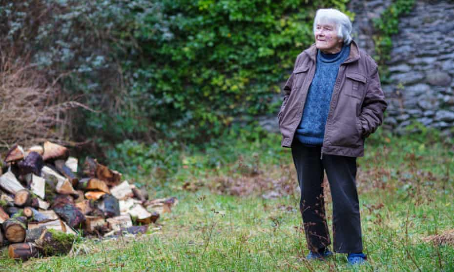 Dervla Murphy in the garden of her home in Lismore, County Waterford, Ireland.