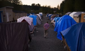 Rows of tents at Camp Second Chance, a city-sanctioned homeless encampment in Seattle.