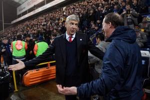 Arsene Wenger greets Simon Grayson before kick-off as Arsenal beat Preston North End 2-1 at Deepdale