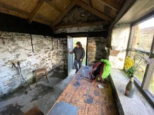 Entering Oyster Clough cabin.