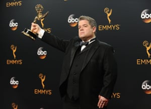 Patton Oswalt in the press room after winning the Emmy for Outstanding Writing for a Variety Special