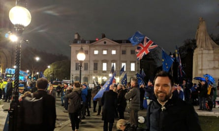 John Gribbon outside parliament for the Brexit vote on 15 January