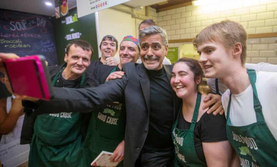 George Clooney at Social Bite cafe