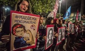 Feminists protest against the impeachment of Rousseff on Paulista Avenue in São Paulo.