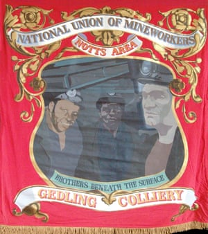 The union banner for Gedling Colliery, where men from 15 countries worked together. Photograph: Mines2Mind Education