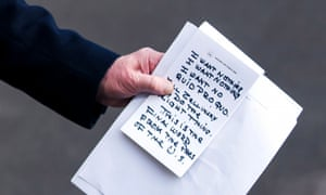 A close-up view of Donald Trump's notes.