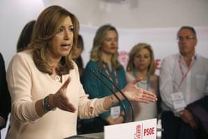 PSOE candidate Susana Díaz concedes defeat to Pedro Sánchez at the party's headquarters in Madrid.