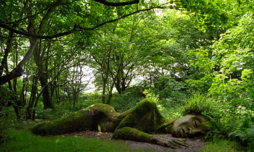 Mud Maid sculpture in the gardens at the Lost Gardens of Heligan, Cornwall, UK.