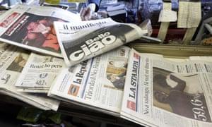 Italian newspapers after the resignation of Matteo Renzi