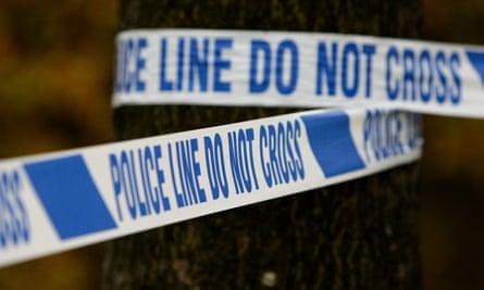 Police cordon tape around a tree