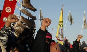 Native Americans demonstrate against plans to pass the Dakota Access pipeline adjacent to the Standing Rock Indian Reservation, North Dakota.