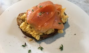 Breakfast time … smoked salmon and scrambled eggs at Five Acre Barn.