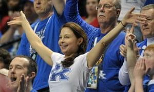 Ashley Judd at the Arkansas Razorbacks v Kentucky Wildcats basketball match.