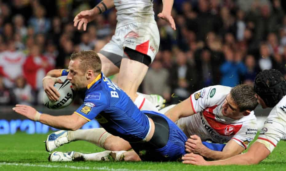 Rob Burrow scores the opening try during the Engage Super League Grand Final match between St Helens and Leeds Rhinos at Old Trafford in 8 October 2011. 'I can't believe what I did.'