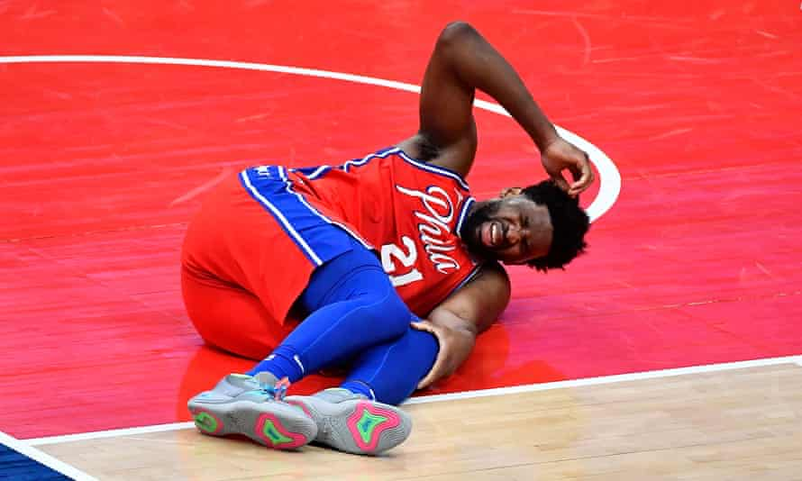 Philadelphia 76ers' Joel Embiid out at least two weeks with bone bruise |  Philadelphia 76ers | The Guardian