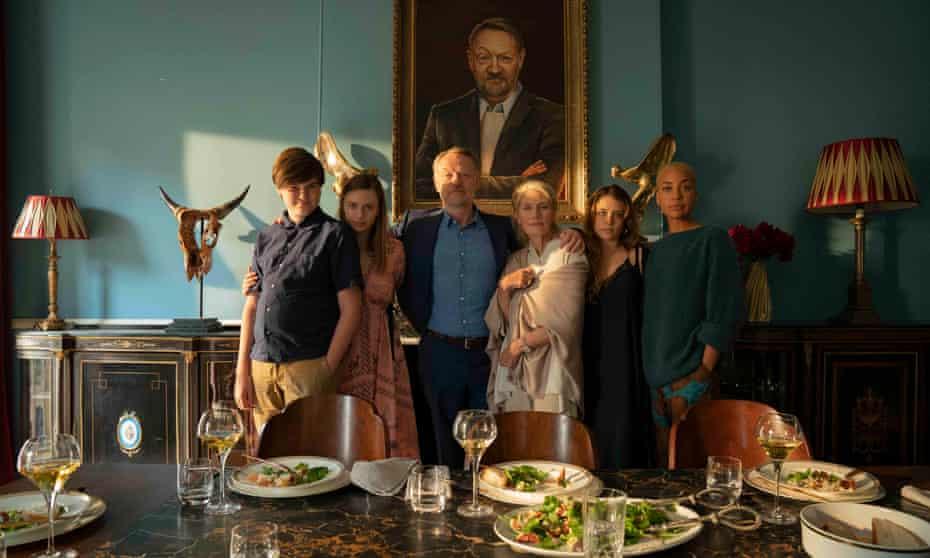 Barney Sayburn, Maeve Dermody, Jared Harris, Geraldine James, Mia Tomlinson and Cush Jumbo in The Beast Must Die. BritBox