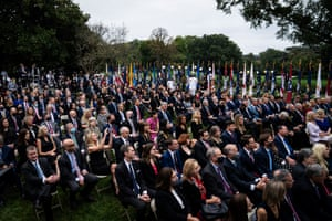 Staff and visitors listen as President Donald J. Trump speaks with Judge Amy Coney Barrett during a ceremony to announce Barrett as his nominee to the Supreme Court in the Rose Garden at the White House on Saturday, Sept 26, 2020 in Washington, DC.