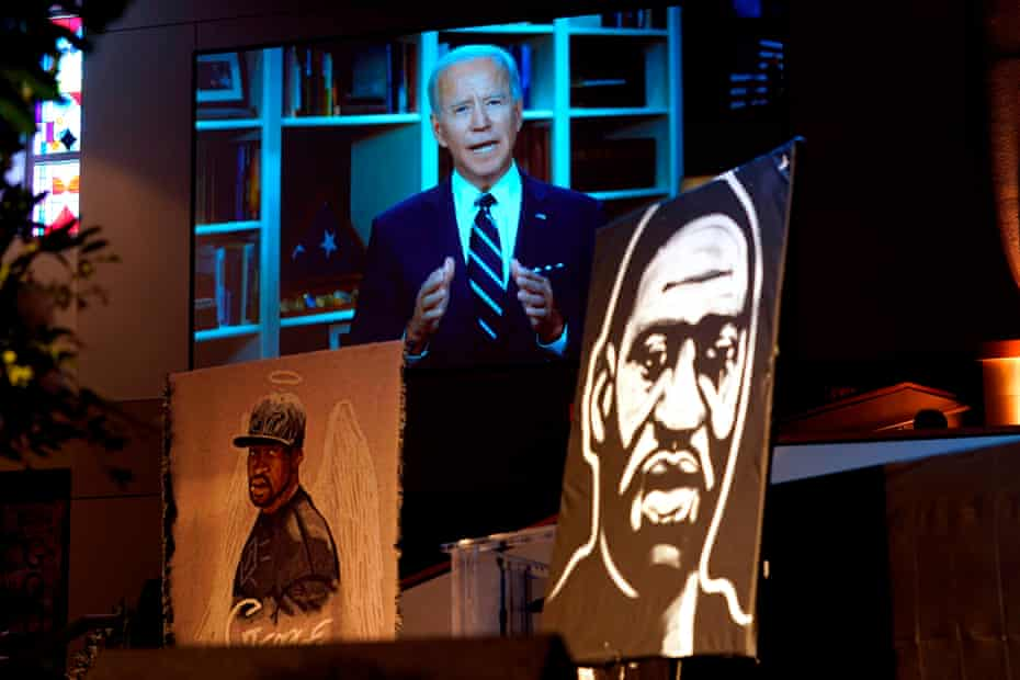 Joe Biden speaks via video link as family and guests attend the funeral service for George Floyd at the Fountain of Praise Church on 9 June 2020 in Houston.
