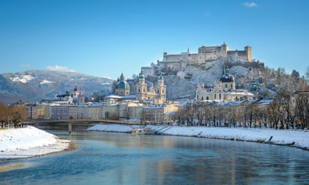 Salzburg beautiful old town in snowy winter.
