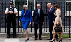 May and her husband, Philip, greet the Trumps outside No 10