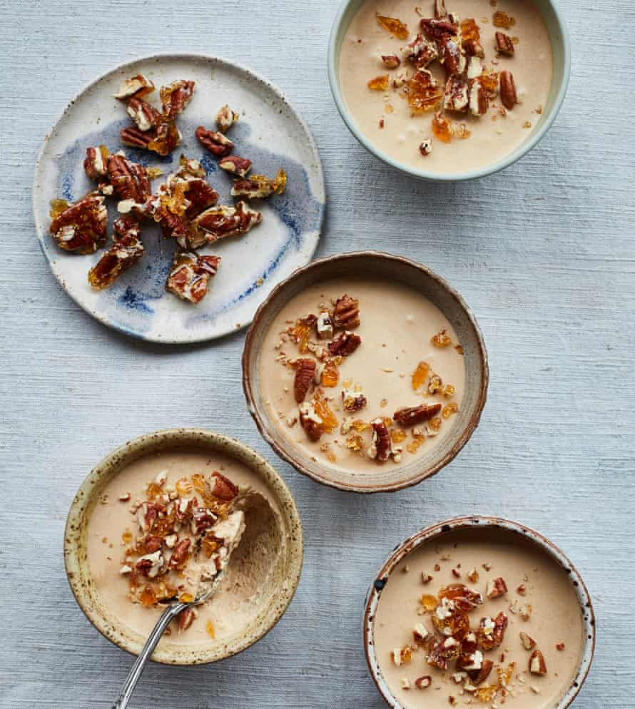 Tamal Ray's chai-spiced mousse with caramel pecans.