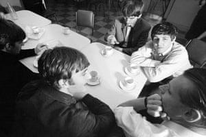 The Beatles during a tea break