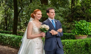 Eleanor Tomlinson and Sam Claflin in Love Wedding Repeat.