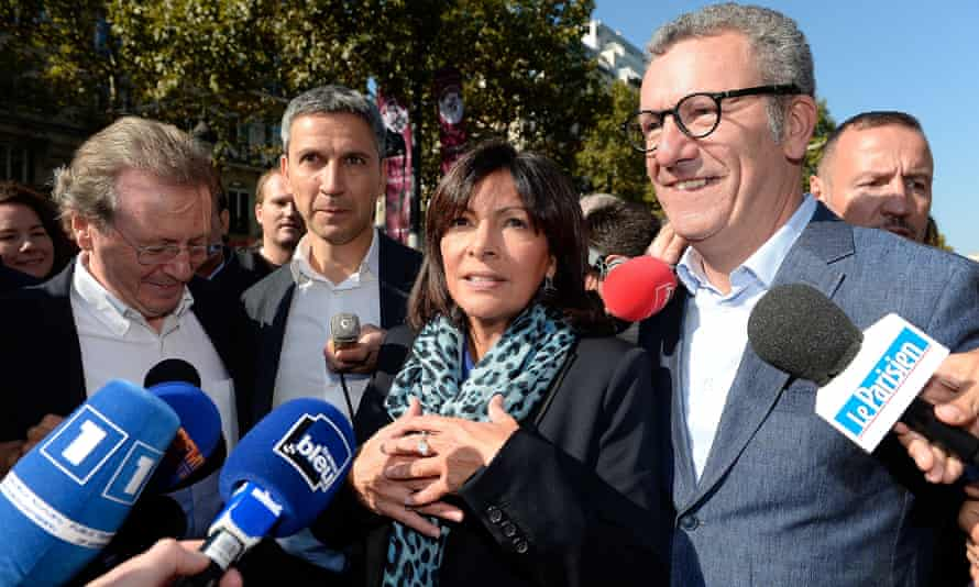 Paris mayor Anne Hidalgo with (from left): Bristol mayor George Ferguson; Christophe Najdovski, Paris transportation chief; and Brussels mayor Yvan Mayeur