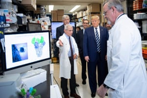 Donald Trump at the National Institutes of Health's Vaccine Research Center in Maryland, 3 March. The president sowed confusion by pressing for a vaccine to be ready by the US elections.