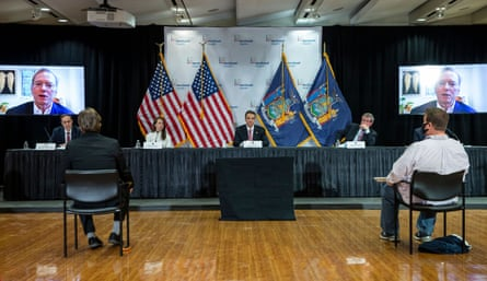 Eric Schmidt, via video call, joins the media briefing given by the New York governor Andrew Cuomo on 6 May 2020.