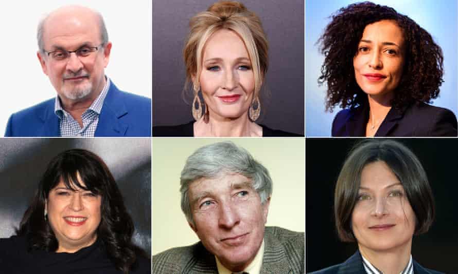 Left to right: Salman Rushdie; JK Rowling; Zadie Smith; EL Ray; John Updike; and Donna Tartt. Photograph: Getty/Rex