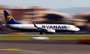 a ryanair plane takes off