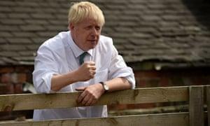 Boris Johnson at Nosterfield farm near Ripon.