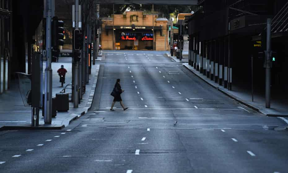 A near empty Market Street is seen in the central business district in Sydney