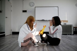 Yuho Wakamatsu who also wants to become a K-pop star, takes photographs of Hasumi during a training session in Seoul