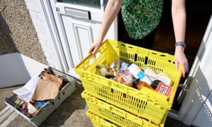 A supermarket delivers to a house during the coronavirus lockdown.