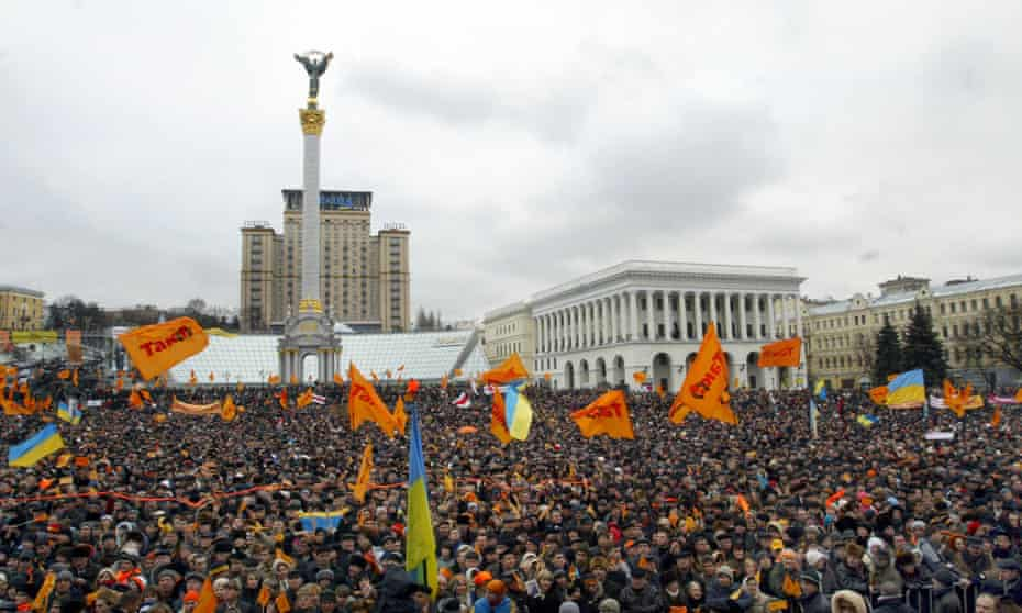 Protesters against alleged fraud in the presidential election in Independence Square, Kiev, November 2004.