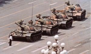 Tank Man in Tiananmen Square on June 5, 1989.