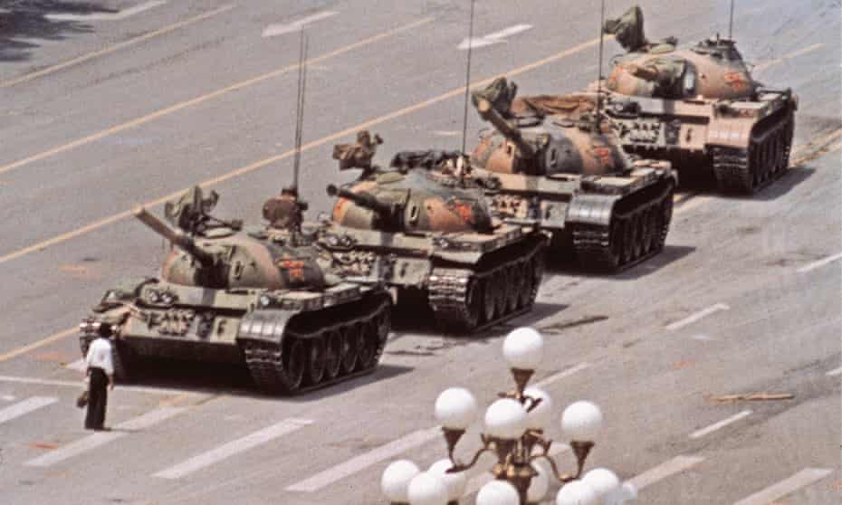 Tank Man in Tiananmen Square on June 5, 1989.