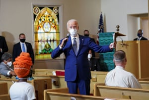 Kenosha, USDemocratic presidential nominee Joe Biden speaks to residents at Grace Lutheran Church after meeting with the family of Jacob Blake