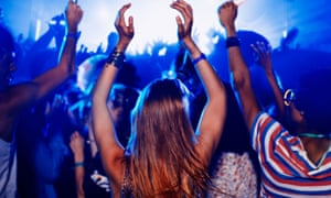 Fans dancing and cheering at music festival 2012