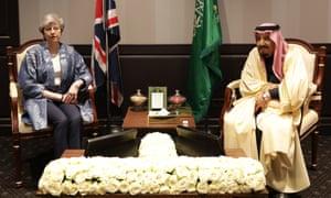Theresa May and Saudi Arabia's King Salman