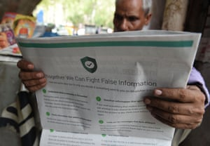 A WhatsApp newspaper ad in India warning about fake information on its service.