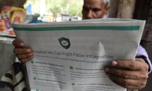 An Indian newspaper with an ad from WhatsApp trying to counter the spread of fake information.