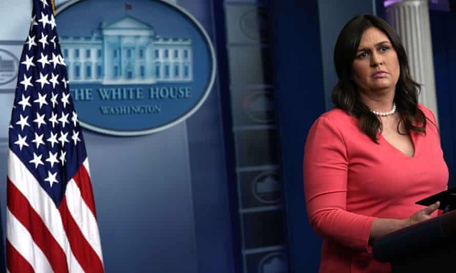 Sarah Sanders conducts a White House daily news briefing on Monday. There have been no briefings since.